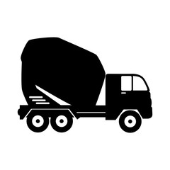 mixer concrete truck machinary cargo construction mix vector graphic isolated illustration