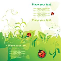 Green background. Vector illustration.