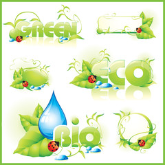 Collection of green ecology icons. Vector illustration.