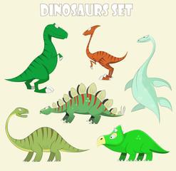 Cartoon dinosaur collection set vector illustration