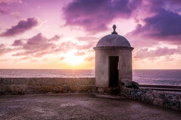 Wall Murals South America Country Purple Sunset over Defensive Wall - Cartagena de Indias, Colombia