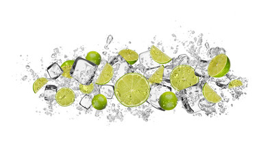 Lime in water splash on white background
