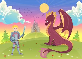 Cartoon knight with dragon. A castle in the background.