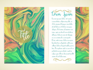 Cover template with marbling. Can be used for postcard, invitation, brochure, cover book, catalog. Size A4. Vector illustration, eps10