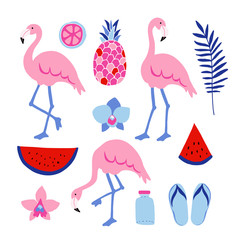Summer tropical graphic elements. Flamingo birds. Jungle floral illustrations, palm leaves, orchid flowers, pineapple,watermelon