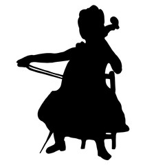 Very high quality original illustration of girl with cello