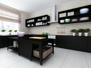 3D illustration of modern sparse kitchen with hardwood details and bright cozy crockery