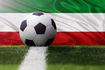 Italy soccer ball against Italy flag