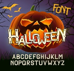 Halloween Font Capital Letters, for  greeting Cards,  poster with evil pumpkin