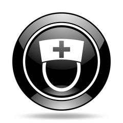 nurse black glossy icon