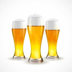 Realistic Isolated glass of beer. Vector illustration