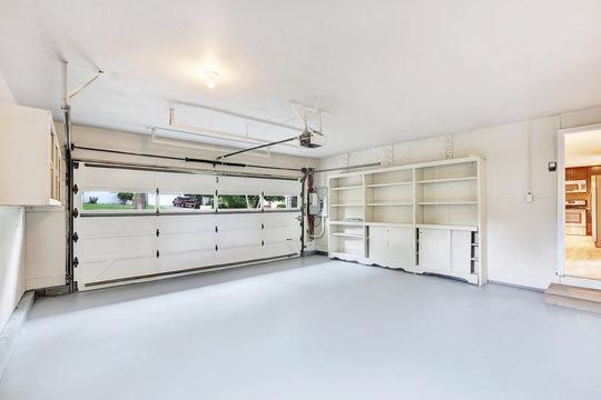 Empty garage interior in American house