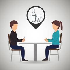 couple sitting dinner vector illustration eps 10