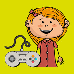 girl game control icon vector illustration graphic