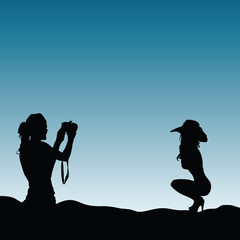 girls silhouette in nature make photography illustration