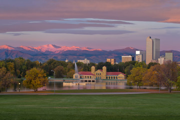 Denver's Downtown City Park with the Mountains and skyline at su