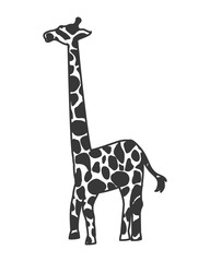 flat design giraffe cartoon icon vector illustration