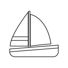 flat design single sailboat icon vector illustration