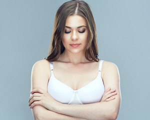 Beautiful woman portrait with breast.