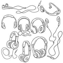 Vector Set of Sketch Circumaural Headphones
