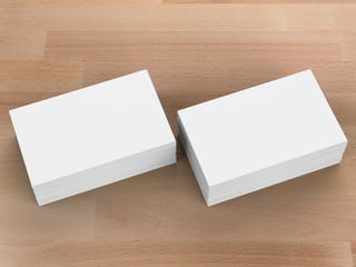 stack of blank name card on wooden background