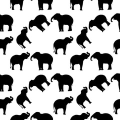 Elegant seamless pattern with abstract elephant symbols