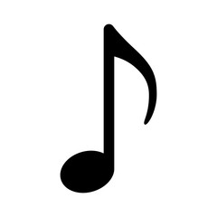 Quaver or eighth music / musical note flat icon for radio apps and websites