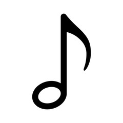Quaver or eighth music / musical note line art icon for radio apps and websites