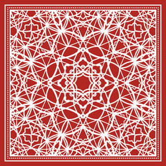 Red scarf design with geometric pattern. Vector illustration
