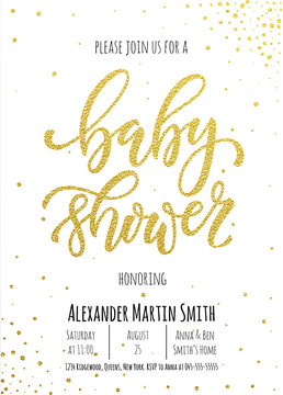 Baby Shower invitation card template.