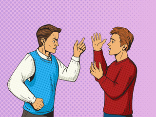 Men debate pop art style vector illustration