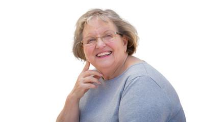 Beautiful Senior Woman Portrait on White