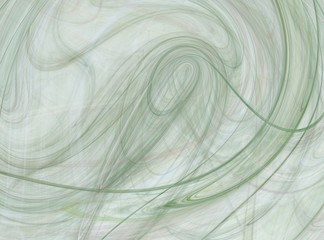 Green abstract fractal with curved lines on a white background