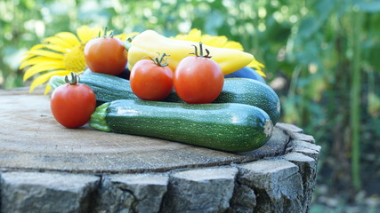 Fresh vegetables are on a wooden stump