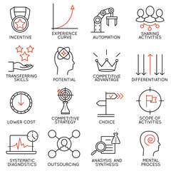 Set linear icons of business management, strategy, career progress and business people organization. Linear infographic vector logo pictograms - part 4