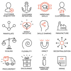 Set linear icons of business management, strategy, career progress and business people organization. Linear infographic vector logo pictograms - part 7