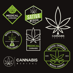 set of medical marijuana cannabis logo template