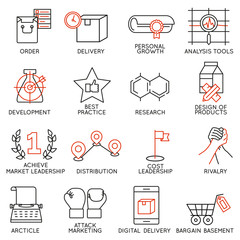 Vector set of 16 icons related to business management, strategy, career progress and business process. Mono line pictograms and infographics design elements - part 8