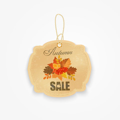 vintage autumn sale badge with autumn leaves.