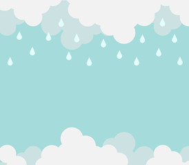 Monsoon season background with cloud and rain. sale banner season off. poster advertising. Flat design business financial marketing sale advertisement concept cartoon illustration.