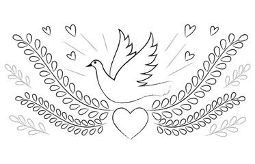 Dove and hearts peace themed drawing