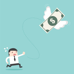 Banknote Money fly out of businessman. Flat design business financial marketing banking advertisment web concept cartoon illustration.