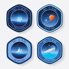 Universe logo badges in polygonal shapes