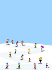 Winter landscape with funny skiers