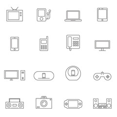 Outline device icon set isolated on white background