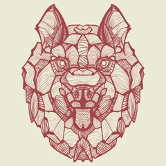 Zentangle vector Husky. Ornamental tribal patterned illustration for tattoo, poster, print. Hand drawn sketch isolated on white background. Animal collection.