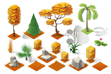 Isometric plants and grass, stones, trees with transparent shadow for landscape game design