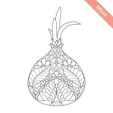 Vector illustration cartoon onion with floral ornament. Coloring page