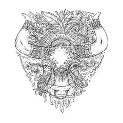 Hand drawn Ornamental Tattoo Bull Head. Highly Detailed Abstract Isolated.