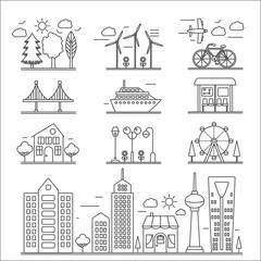 Landscape city buildings thin line ourline linear design icons elements set. Graphic design city constructor.